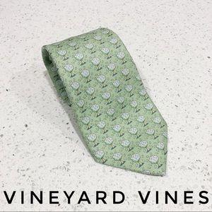 Vineyard Vines Light Green Money Tree Custom Tie